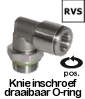 IQS push-in fittingen RVS, perslucht fittingen RVS, RVS lucht koppeling, Knie inschroef draaibaar O-ring RVS.